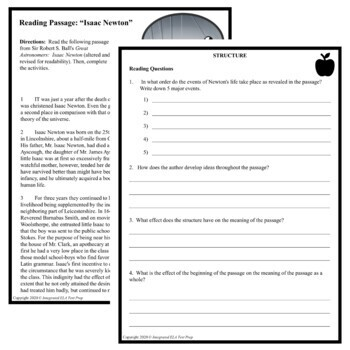 Reading Comprehension Passage and Questions Test Prep Isaac Newton FREEBIE