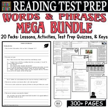 Common Core ELA Test Prep Words & Phrases BUNDLE: 16 Lessons/Quizzes/Activities
