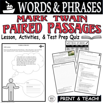 Common Core ELA Test Prep Words & Phrases Lesson: Paired Passages (Mississippi)