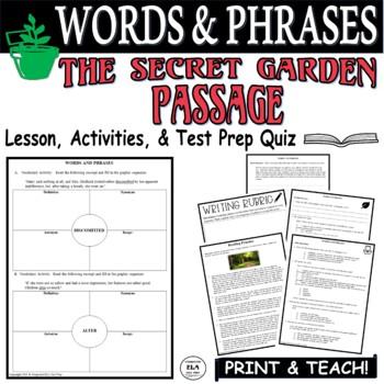 Common Core ELA Test Prep Words & Phrases Lesson:  The Secret Garden (Fiction)