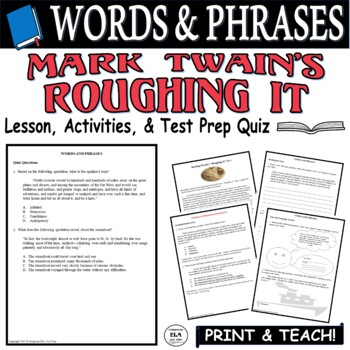 Common Core ELA Test Prep Words and Phrases Lesson: Roughing It by Mark Twain