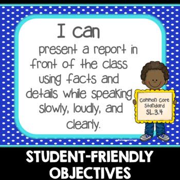 "Third Grade Common Core ""I Can"" Display Posters- ELA"