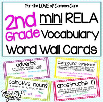 Common Core ELA Vocab Cards 2nd Grade {MINI}