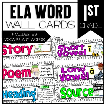 Common Core ELA Vocabulary Cards for 1st Grade