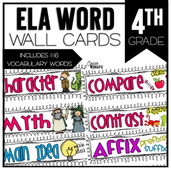 Common Core ELA Vocabulary Cards for 4th Grade