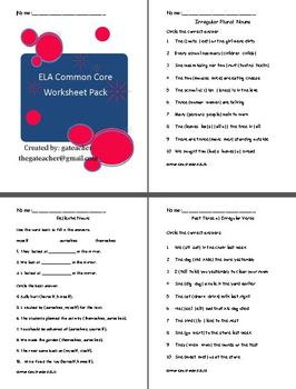 Common Core ELA Worksheet Pack for Second Grade