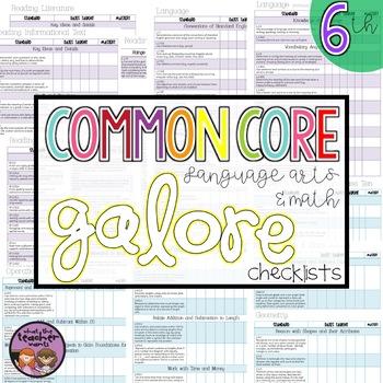Common Core ELA and MATH Galore {6th Grade Checklist}