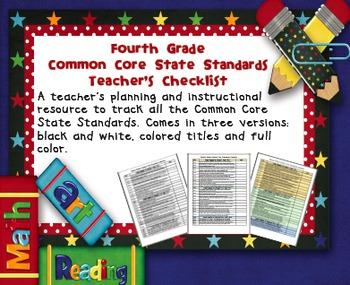 Common Core ELA and Math Checklist Combo (Fourth Grade)