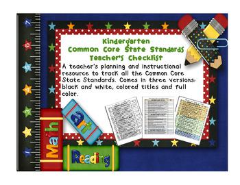 Common Core ELA and Math Checklist Combo (Kindergarten)