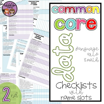 Common Core ELA and Math Data Checklist {2nd Grade}