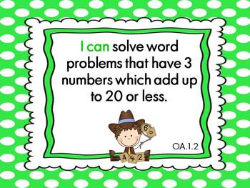 """Common Core ELA and Math """"I Can"""" Polka Dot Posters for First Grade"""