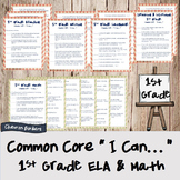 """I can..."" Statements for Common Core ELA & Math Checklists (1st Grade)"