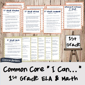 """""""I can..."""" Statements for Common Core ELA & Math Checklists (1st Grade)"""