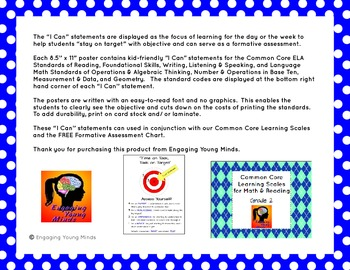 """Common Core ELA and Math Kid Friendly """"I Can"""" Statements 2nd Grade"""