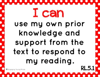 "Common Core ELA and Math Kid Friendly ""I Can"" Statements 5th Grade"