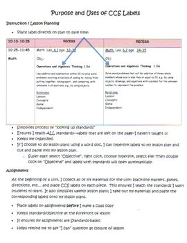 Common Core ELA and Math Labels for Third Grade