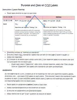 Common Core ELA and Math Standards Labels Kindergarten