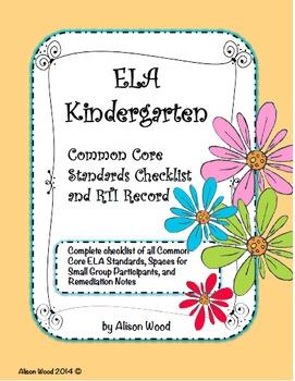 Common Core ELA/Math Standards and RTI Checklist Kindergarten