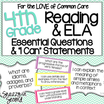 Common Core EQs and I Cans for 4th Grade Reading & ELA