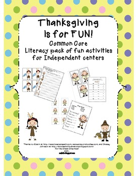 Common Core Easy Thanksgiving Independent Literacy Centers