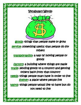 Common Core Economics Social Studies' Unit for Second Grade