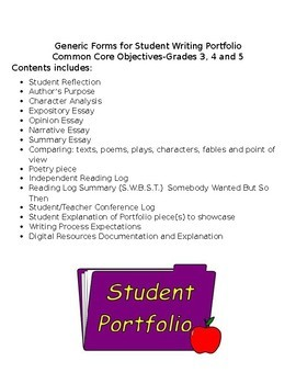 Common Core Editable Generic Writing Portfolio Forms for Grades 3-5