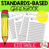 Editable Standards Based Gradebook - Grade 4