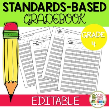 Editable Standards Based Gradebook - Grade 4