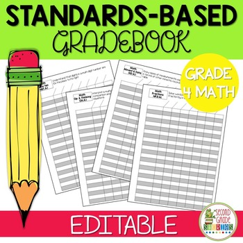 Editable Standards Based Gradebook MATH ONLY - Grade 4