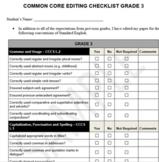 Common Core Editing Checlist - Grade Three