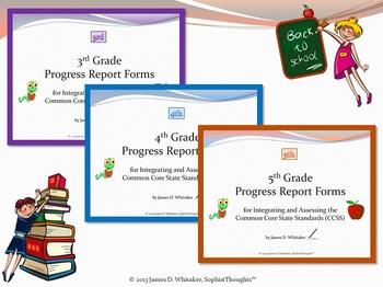 Common Core Elementary ELA Grades 3, 4, and 5  Progress Report Bundle
