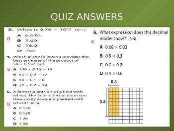 Common Core EnVision Math Fifth Grade Topic 6 Review PowerPoint