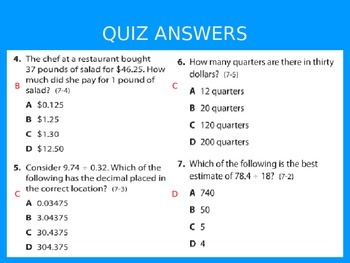 2012 Common Core EnVision Math Fifth Grade Topic 7 Review PowerPoint
