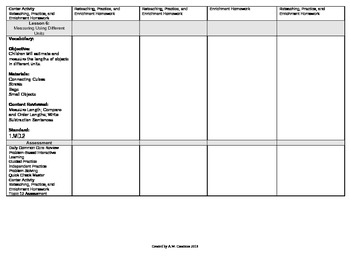 2012 Common Core EnVision Math First Grade Topic 12 Unit Plan - Length