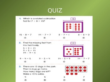 2012 Common Core EnVision Math First Grade Topic 6 Review PowerPoint