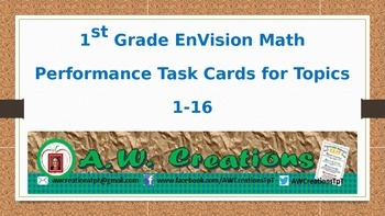 Common Core EnVision Math First Grade Topics 1-16 Performance Task Cards