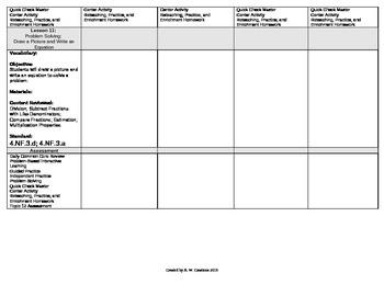 2012 Cm Core EnVision Math Fourth Grade Topic 12 Unit Plan- + & - Fract & Mix #s