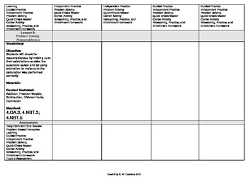 2012 Cm Core EnVision Math Fourth Grade Topic 5 Unit Plan - Mult. by 1-Digit #'s