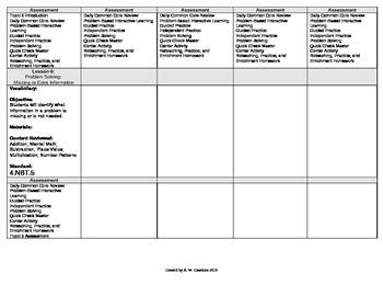 2012 Cm Core EnVision Math Fourth Grade Topic 6 Unit Plan - Mult. by 1-Digit #'s