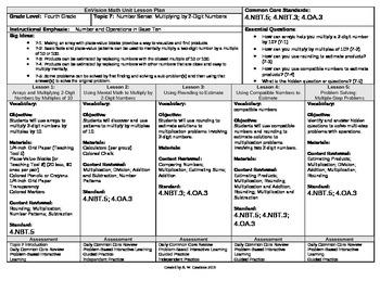 2012 Cm Core EnVision Math Fourth Grade Topic 7 Unit Plan
