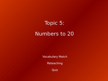 2012 Common Core EnVision Math Kindergarten Topic 5 Review PowerPoint