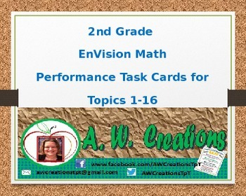 Common Core EnVision Math Second Grade Topics 1-16 Performance Task Cards