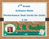 Common Core EnVision Math Third Grade Topics 1-16 Performance Task Cards