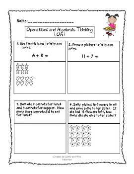 Common Core End-of-Year Math Assessment for First Grade