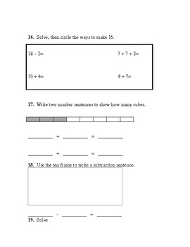 Common Core End of the Year Math Test (First Grade)