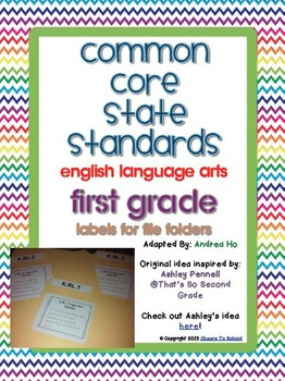 Common Core English Language Arts File Folder Labels (FIRST GRADE)