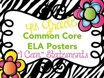 "Common Core English Language Arts ""I Can"" Statements Fourt"