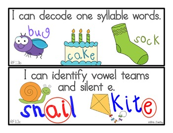 "Common Core English Language Arts: ""I Can"" Statements for First Grade"