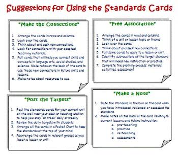 Common Core English Language Arts Planning Cards Grade 4