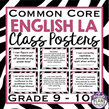 COMMON CORE ENGLISH POSTERS (Grade 9-10)